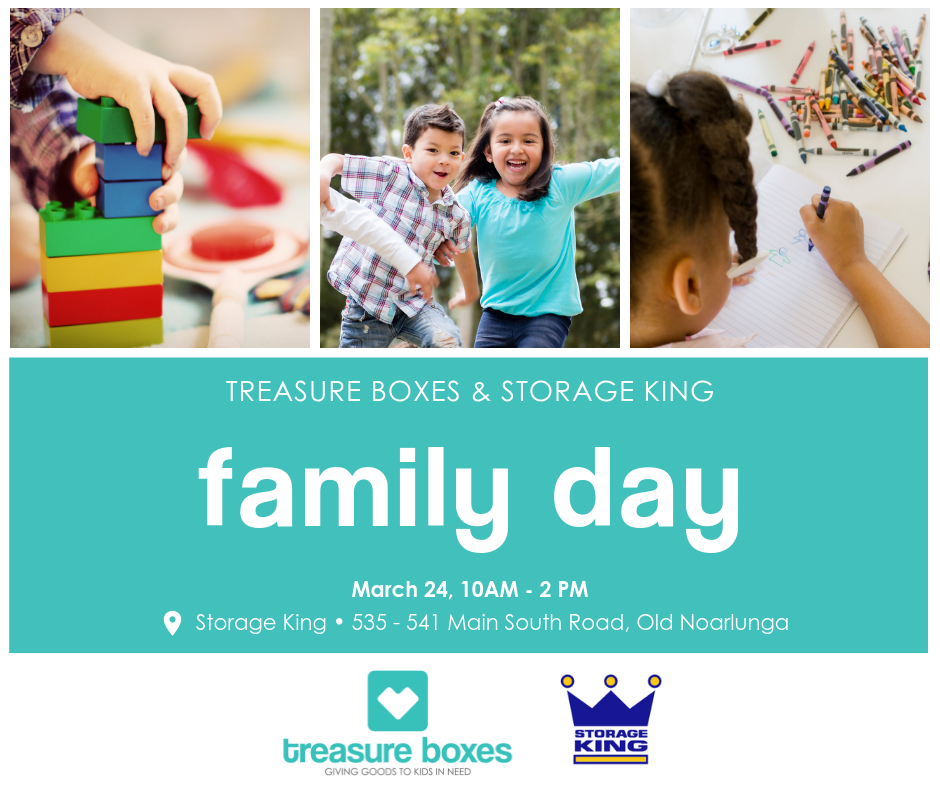 Treasure Boxes & Storage King family day banner
